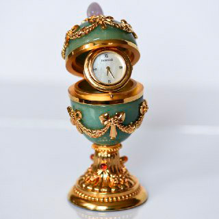 Faberge Imperial Green Egg Clock